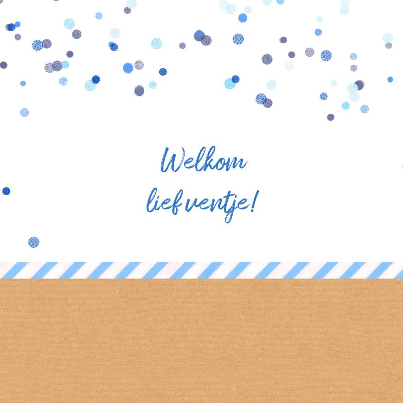 Geboortekaartje blauw confetti 2