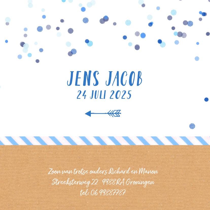 Geboortekaartje blauw confetti 3