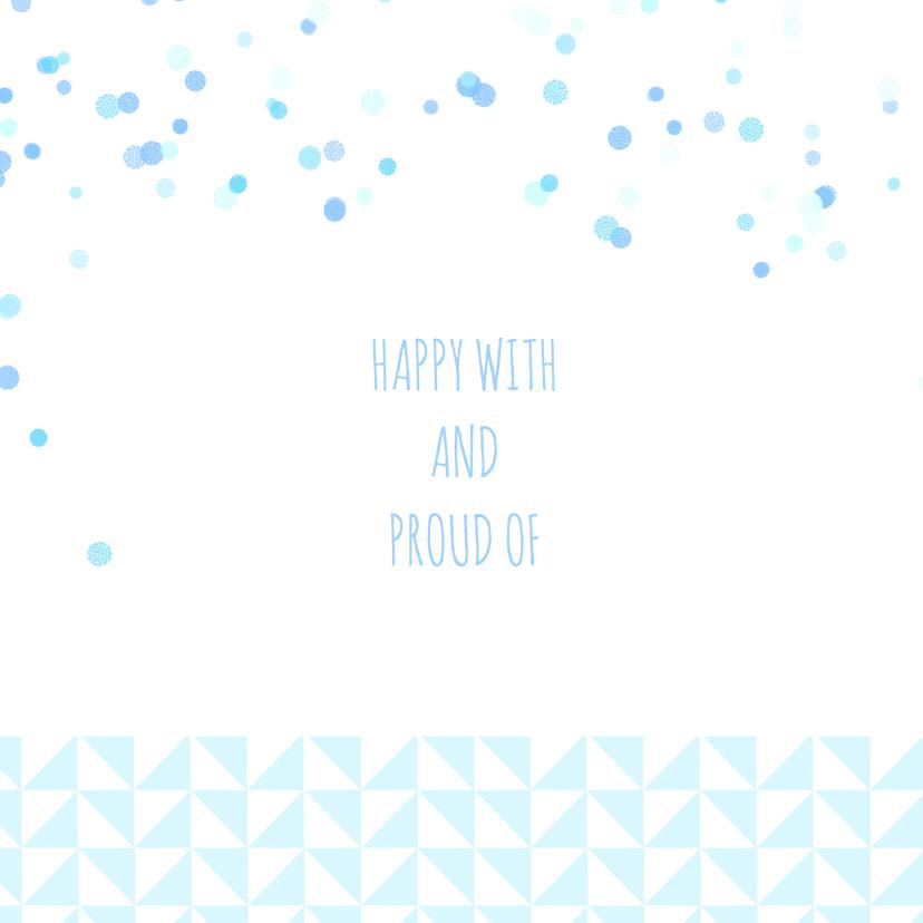 Geboortekaartje blauw driehoekje 2
