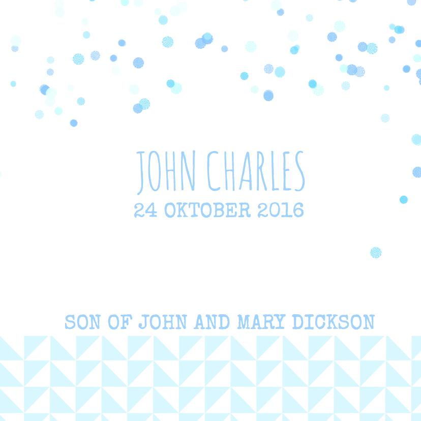 Geboortekaartje blauw driehoekje 3