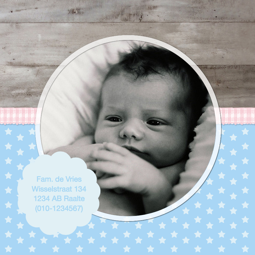 Geboortekaartje blauw roze ster 2