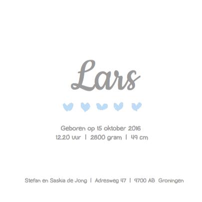 Geboortekaartje blauwe hartjes 3