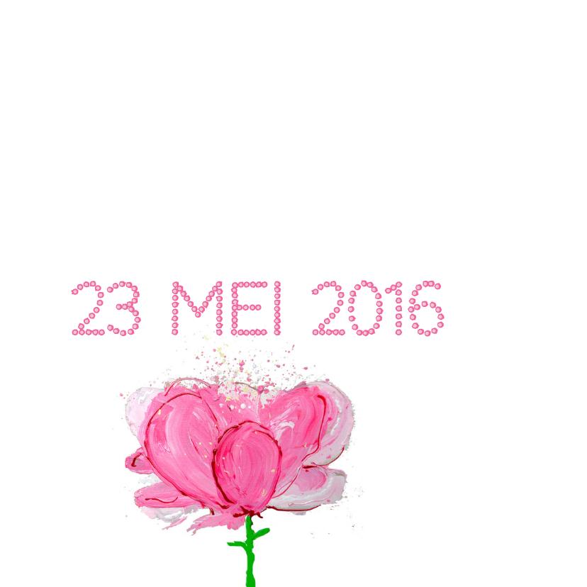 Geboortekaartje bloem roze 2