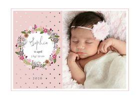 Geboortekaartjes - Geboortekaartje Bloemen krans