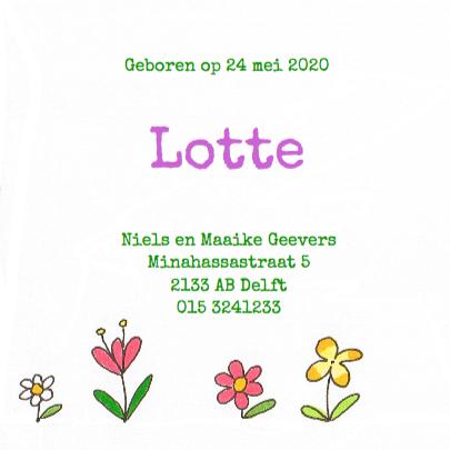 geboortekaartje bloemen 3
