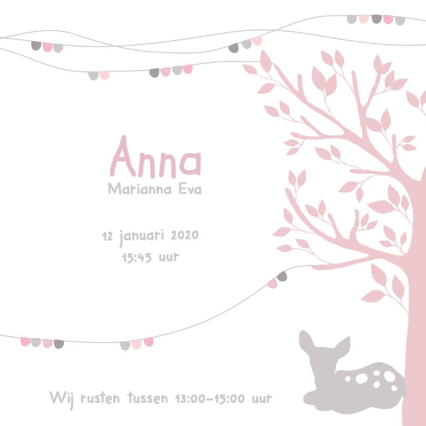 Geboortekaartje boom hertje 3