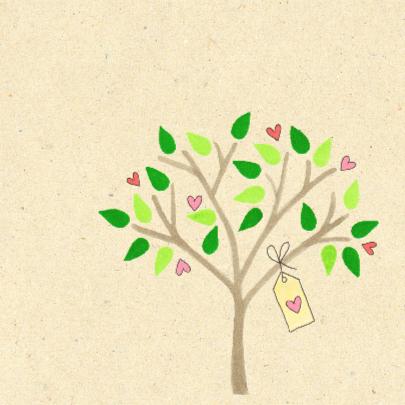 geboortekaartje boom met hartjes 2
