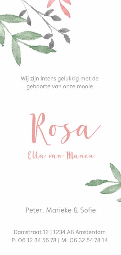 Geboortekaartje botanisch met roze en groene takjes achterkant
