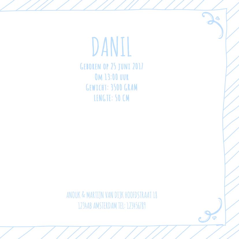 Geboortekaartje boy tekst blauw 3