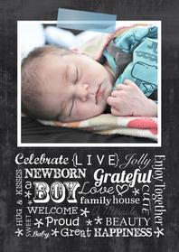 Geboortekaartjes - Geboortekaartje chalkboard stoer