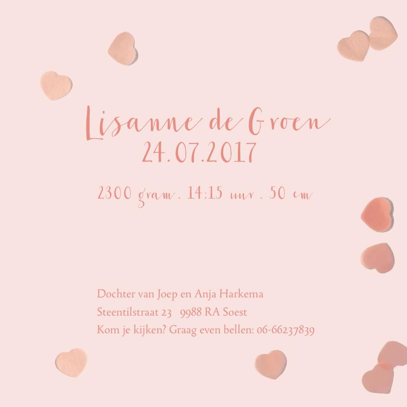 geboortekaartje confetti hartjes roze 3