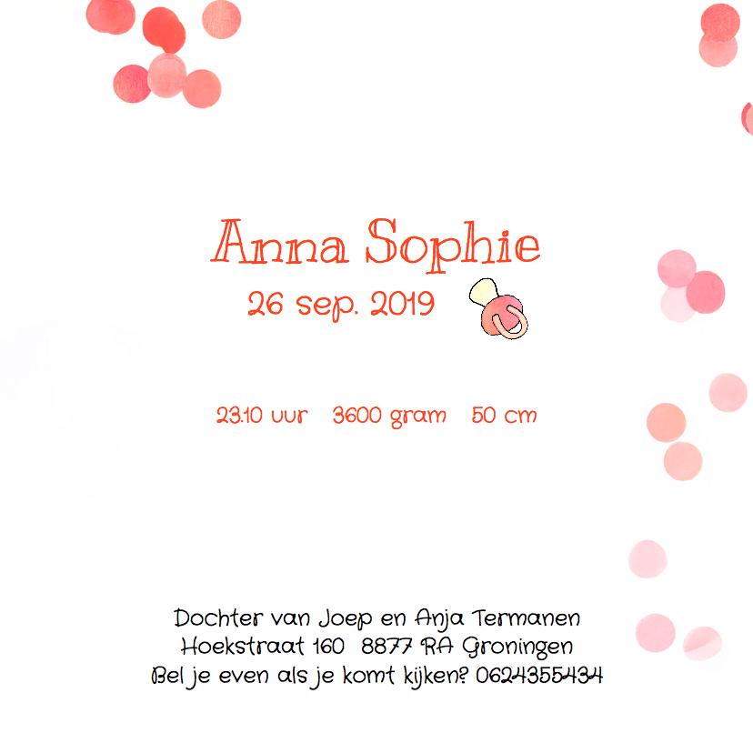 Geboortekaartje confetti speen meisje 3