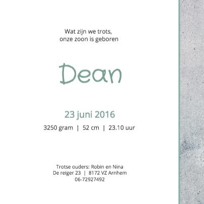 Geboortekaartje Dean 3