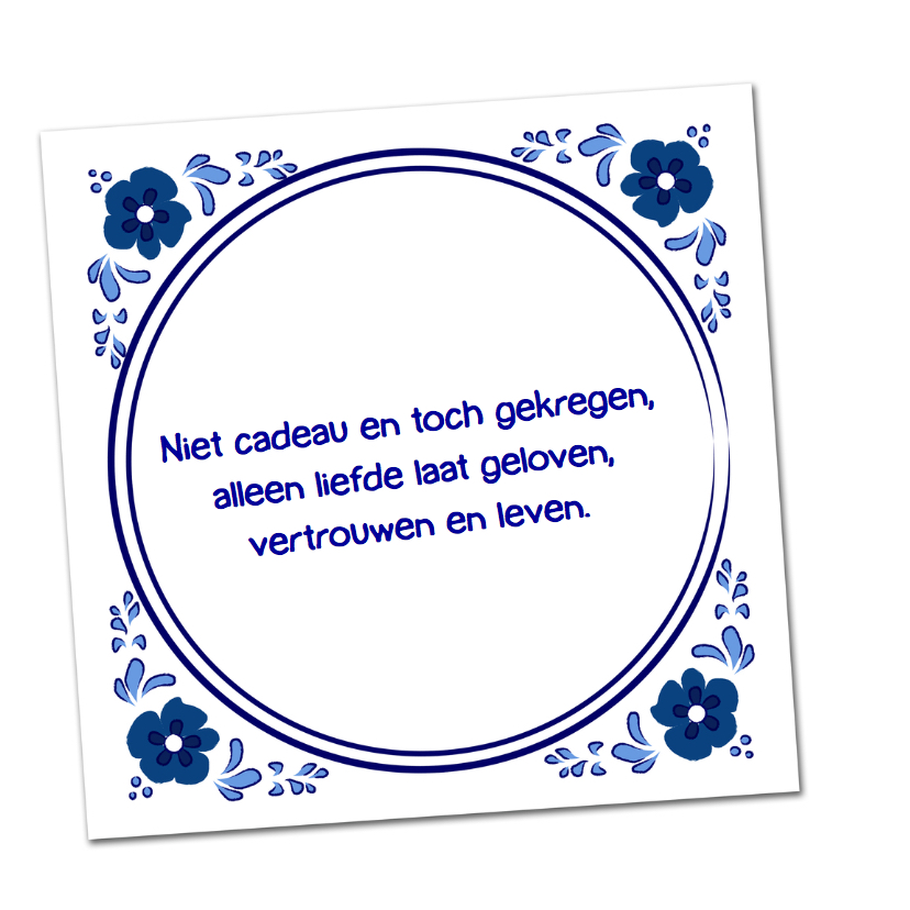 Geboortekaartje Delftsblauwe tegel bloem 2
