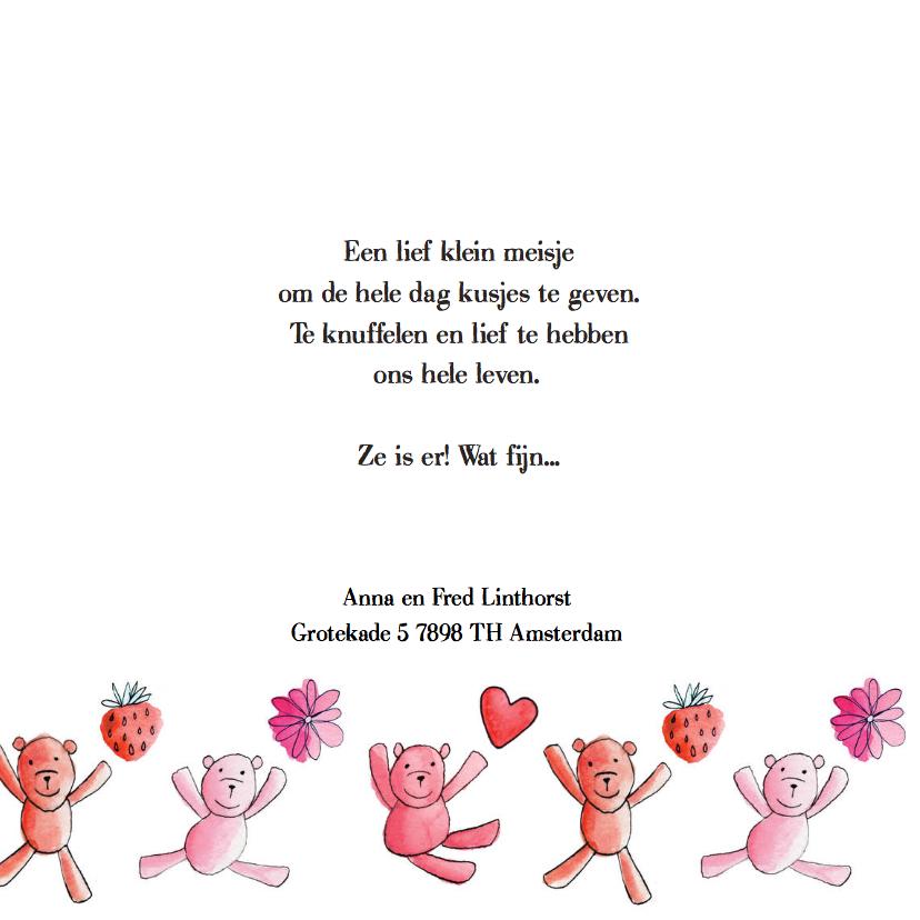 geboortekaartje dessin beren roze 2