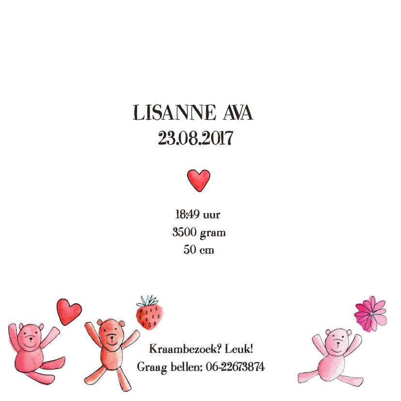 geboortekaartje dessin beren roze 3