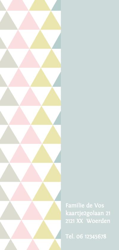 Geboortekaartje driehoek pastel meisje 2