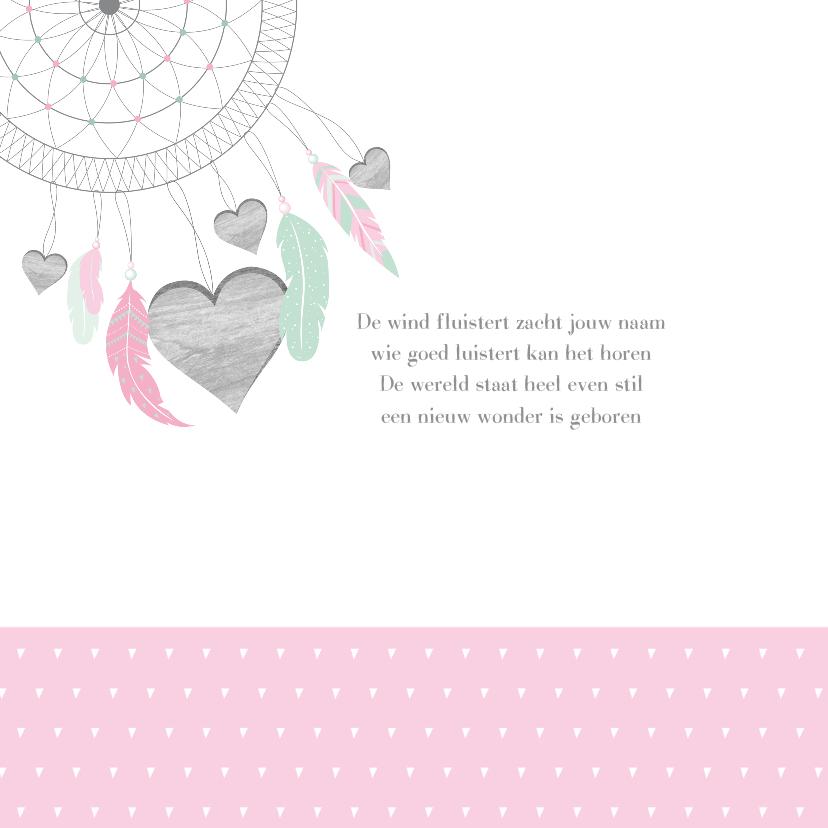 Geboortekaartje dromenvanger hartjes meisje 2