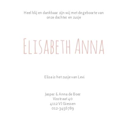 Geboortekaartje Elisa oud-roze 3