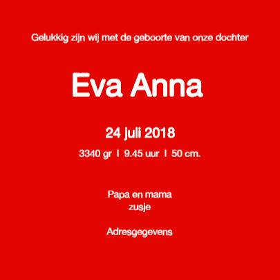 Geboortekaartje Eva 3