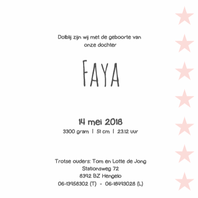 Geboortekaartje Faya 3