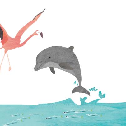 Geboortekaartje flamingo dolfijn 2