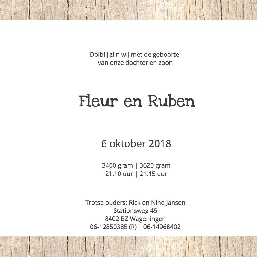 Geboortekaartje Fleur en Ruben 3