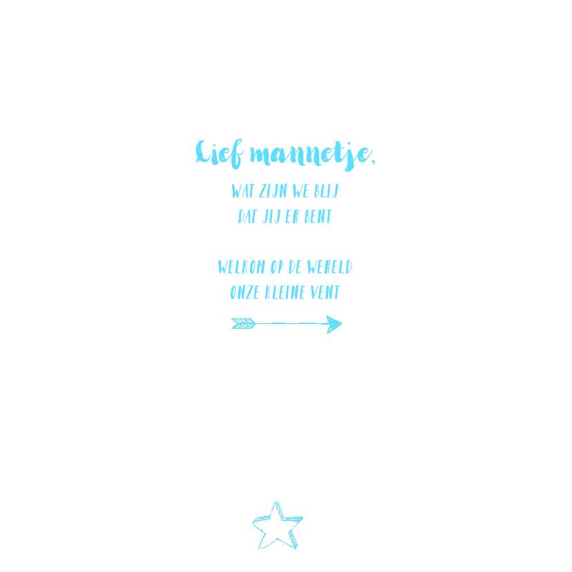 Geboortekaartje foto blauwe icoontjes handlettering  2