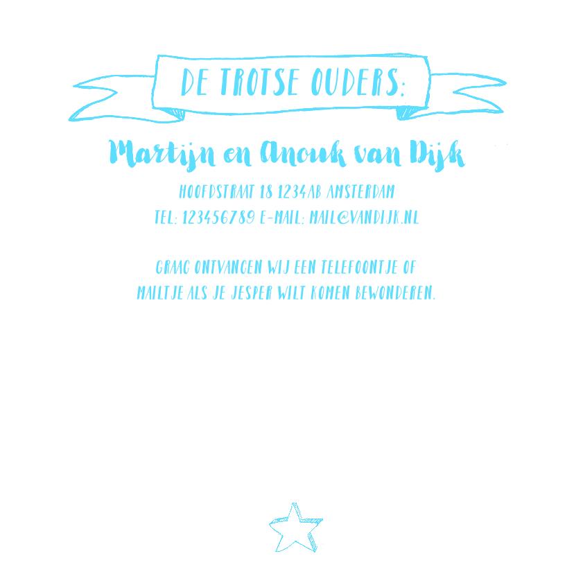 Geboortekaartje foto blauwe icoontjes handlettering  3