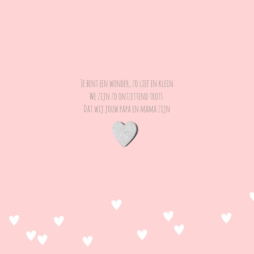 Geboortekaartje foto label hartjes roze  2