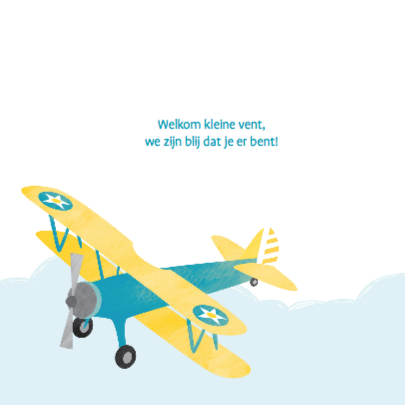 Geboortekaartje geel vliegtuig 2