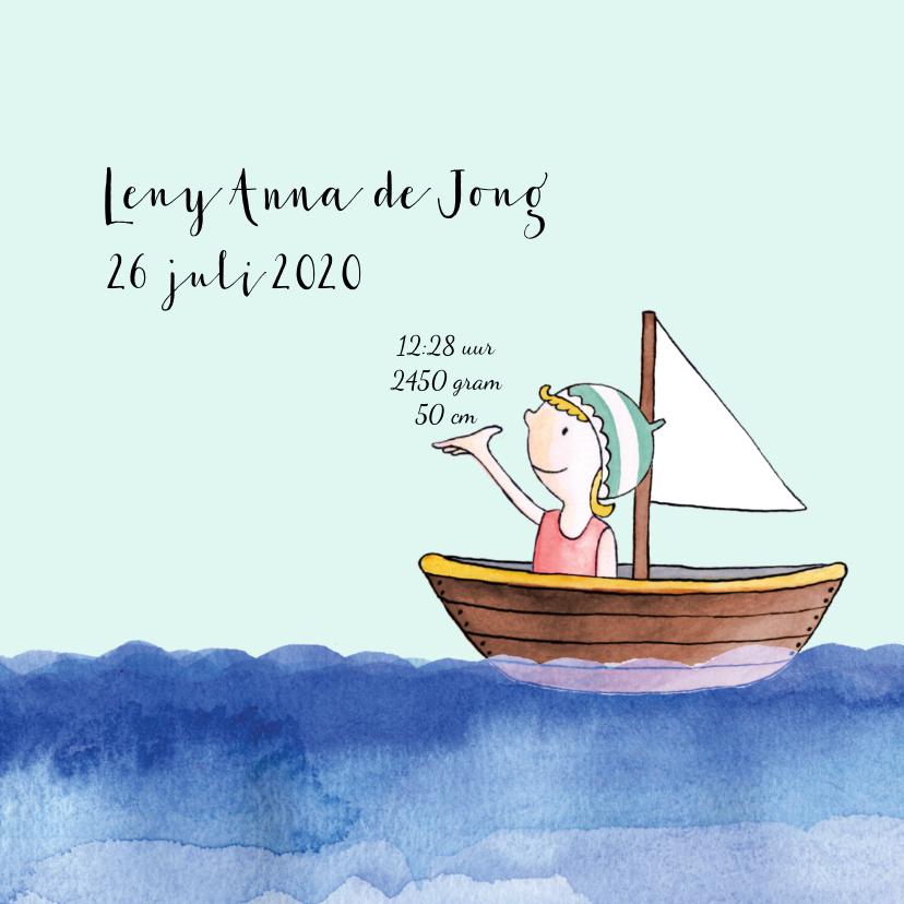 Geboortekaartje getekend bootje op zee blond meisje 3