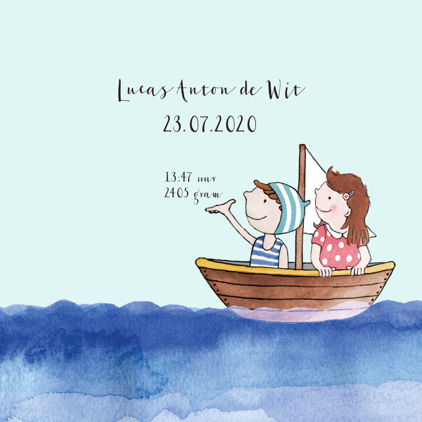 Geboortekaartje getekend bootje op zee broertje 3