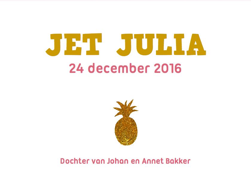 Geboortekaartje goud ananas 3