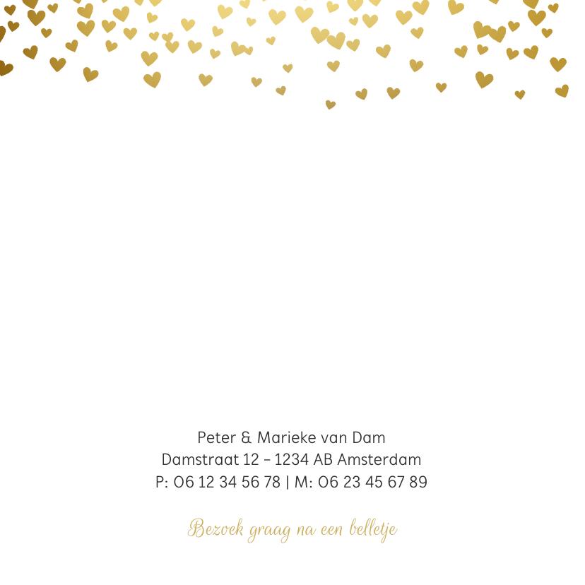 Geboortekaartje gouden hartjes 2