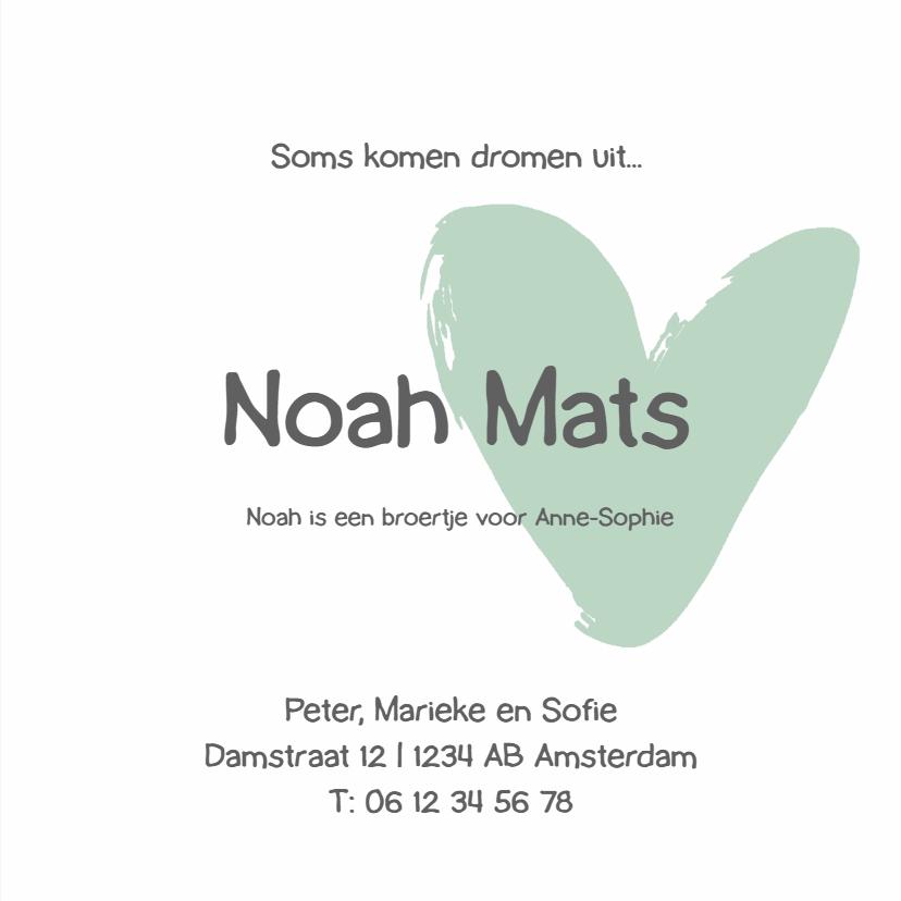 Geboortekaartje groen hartjes 3