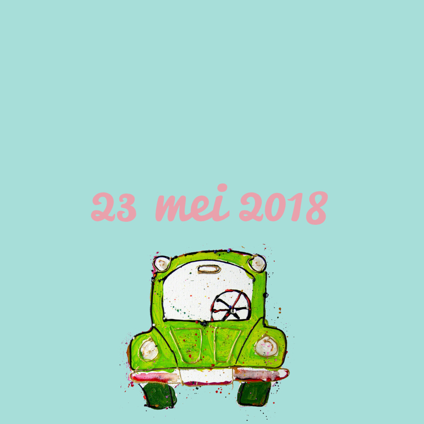 Geboortekaartje groene auto 2