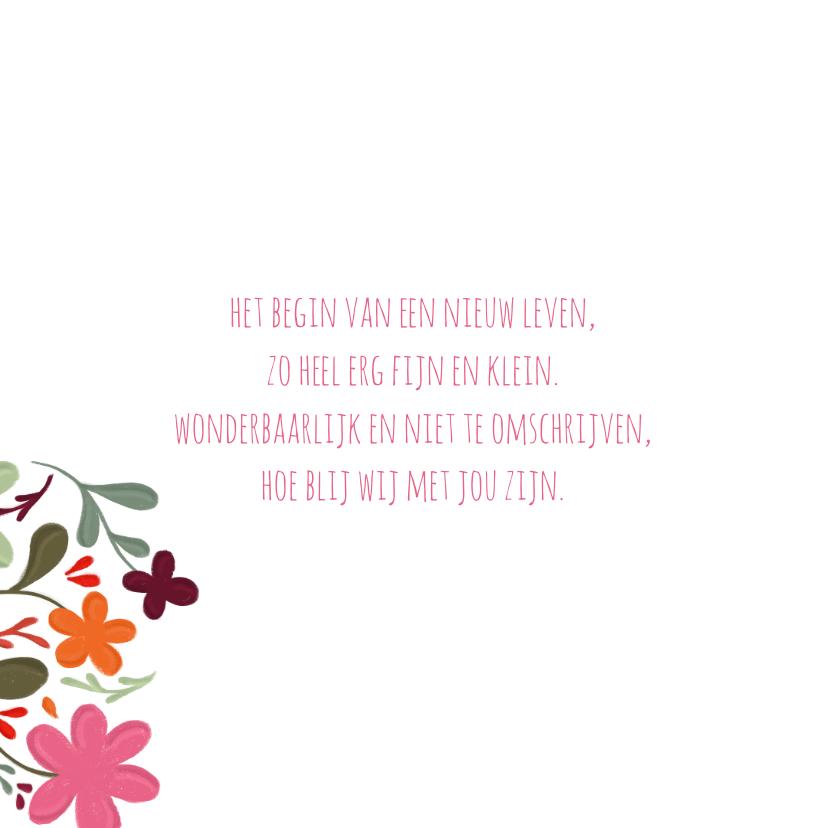 Geboortekaartje handgeschilderde bloemen op vierkant 2