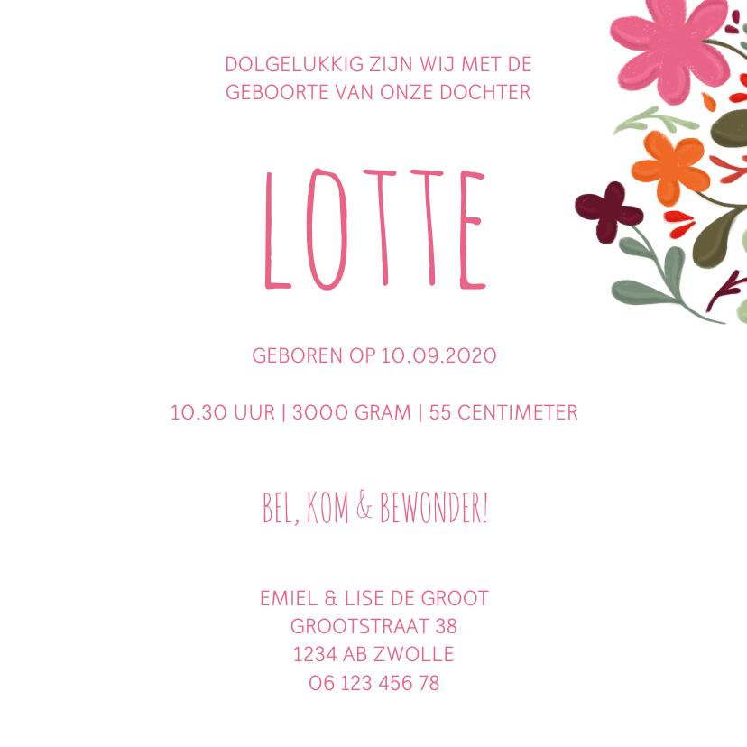 Geboortekaartje handgeschilderde bloemen op vierkant 3