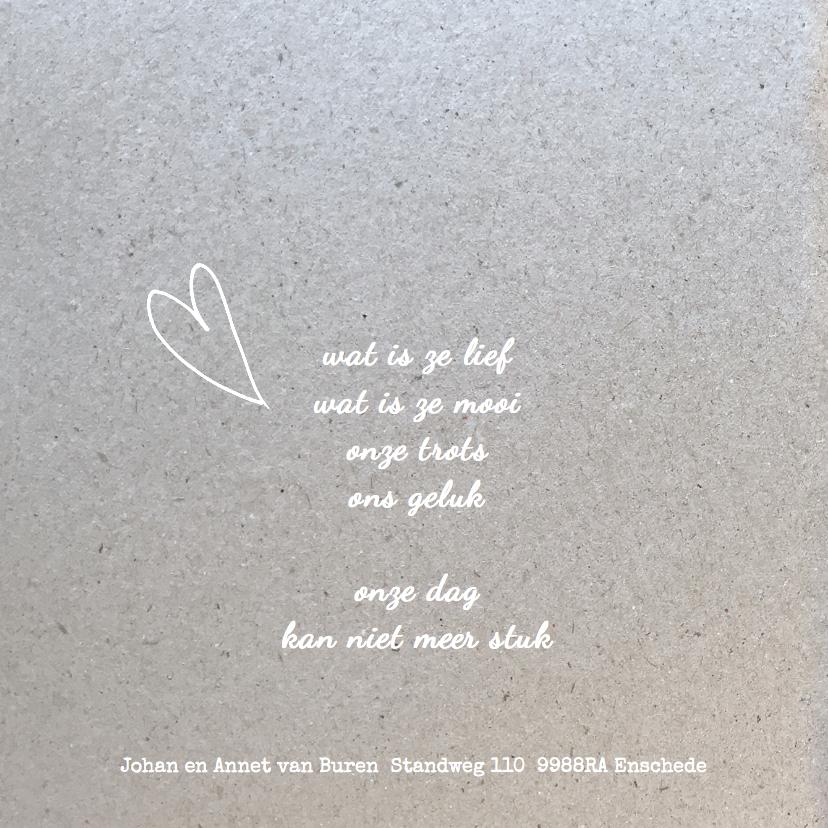 Geboortekaartje hart label koper 2