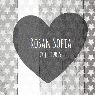 Geboortekaartje hart Rosan 3