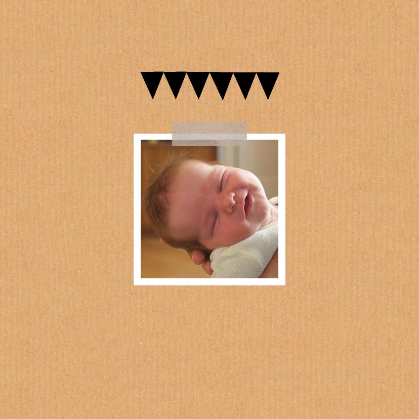 Geboortekaartje hart zwart 2