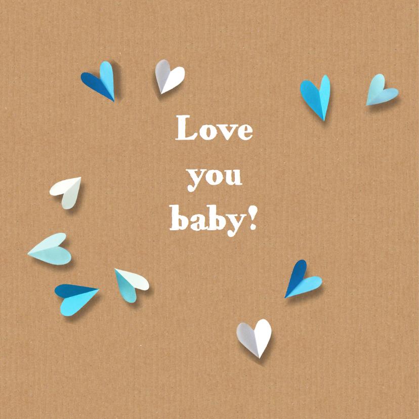 Geboortekaartje harten papier 2
