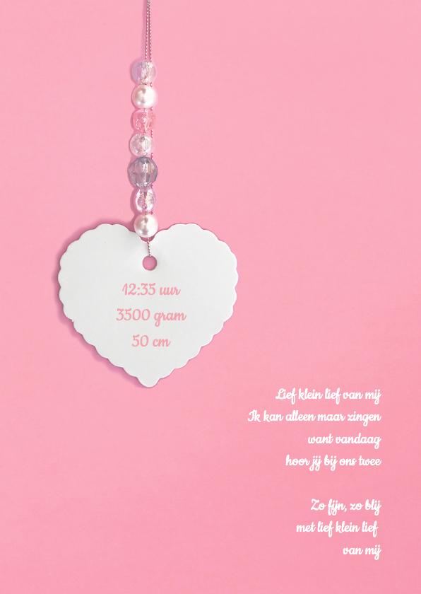 Geboortekaartje hartje kralen  2