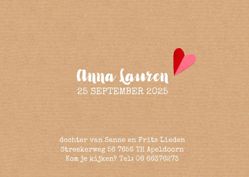geboortekaartje hartjes Anna 3