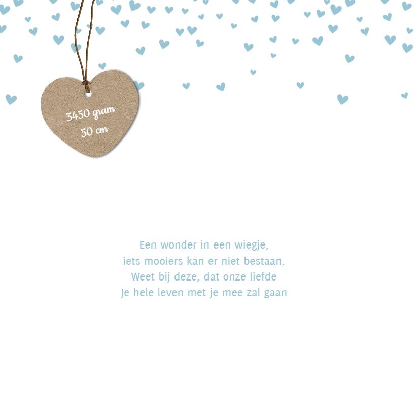 Geboortekaartje hartjes confetti 2