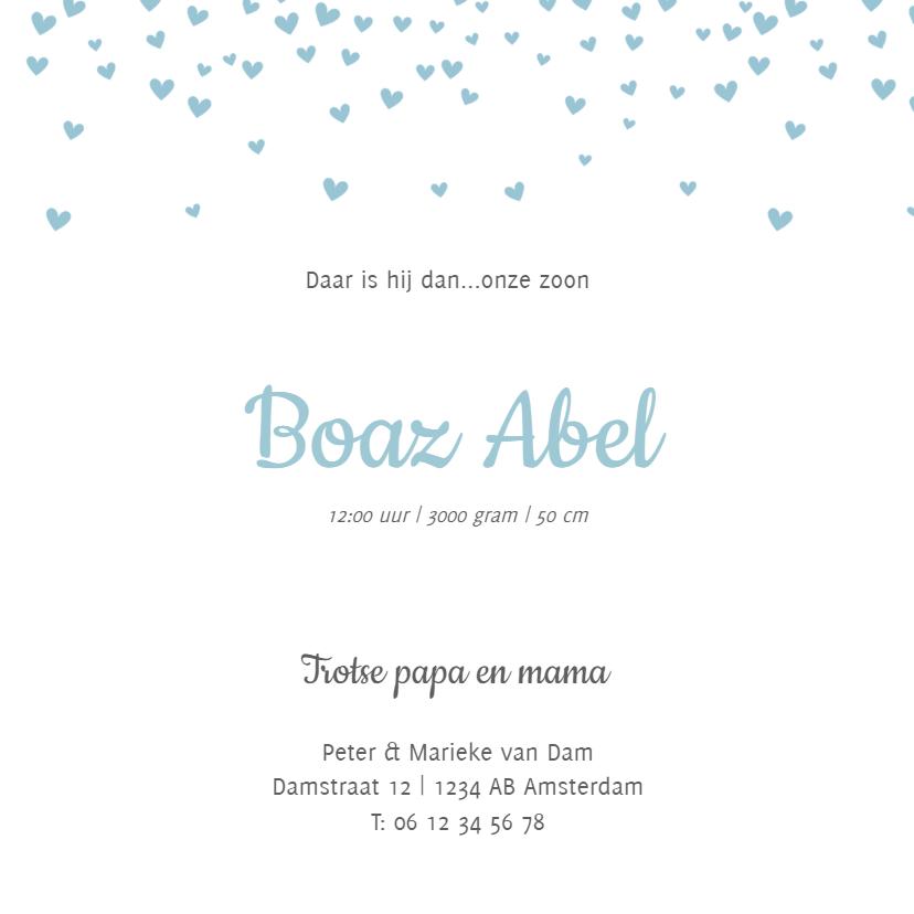 Geboortekaartje hartjes confetti 3