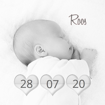 Geboortekaartjes - Geboortekaartje hartjes datum A