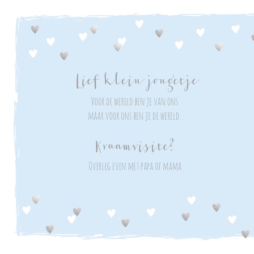 Geboortekaartje hartjes hip lichtblauw en zilver 2