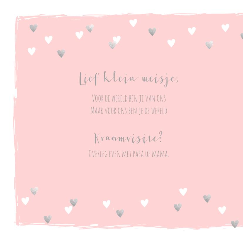 Geboortekaartje hartjes hip roze en zilver 2